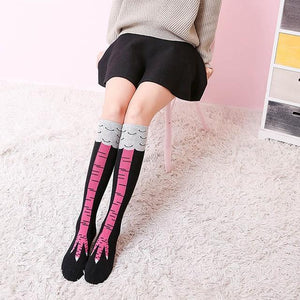 High Quality Creative Chicken Women Over the Knee Socks Cartoon Cotton Chickendresskily-dresskily
