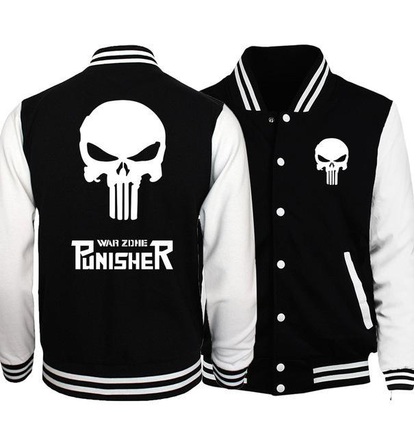the punisher anime skull print mens baseball jacket 2017 spring casual streetweardresskily-dresskily