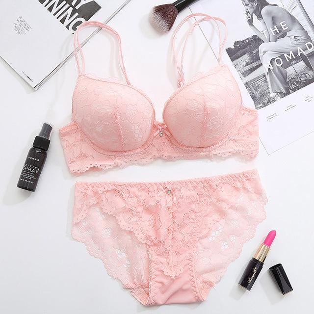 Femal Intimates Floral Sexy Lingerie Set Gather Adjustable Underwear Women Lace Pushdresskily-dresskily