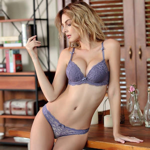 Femal Intimates Lace Sexy Lingerie Set Gathering Adjustable Underwear Women Lace Pushdresskily-dresskily