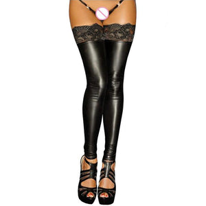 sexy erotic lingerie hot thigh high stockings black lace leather tights womendresskily-dresskily