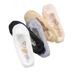 5 Pair Women Fashion Low Cut Lace Slippers Socks Ladies Girls Shoedresskily-dresskily