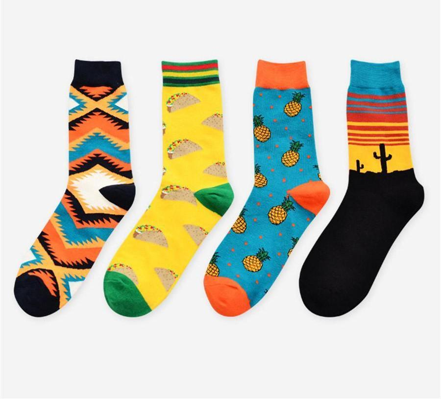 Autumn Winter New Arrival Unisex Happy Socks Art Abstraction Creative Pattern Fruitdresskily-dresskily