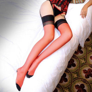 Women Patchwork Thigh High Sexy Stockings Oil Shinny Bright Color Line Fromdresskily-dresskily