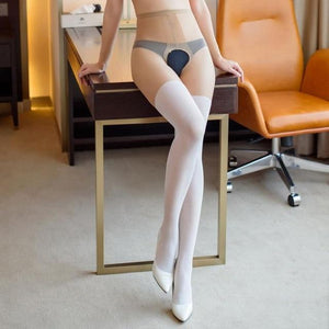 Mock Suspender Tights Women Fake Thigh High Open Crotch Tights Shiny Crotchlessdresskily-dresskily