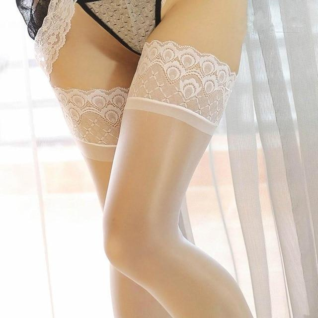 Sexy Women Lace Top Silicone Stay Up Shine Thigh High Stockings Oildresskily-dresskily