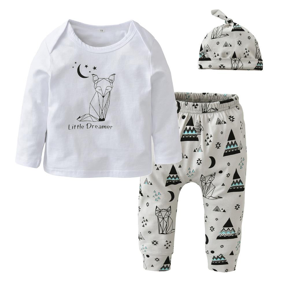 New 2018 Baby Boy Clothing Set Cotton Long sleeve fox Pattern T-shirt+Pants+Hatdresskily-dresskily