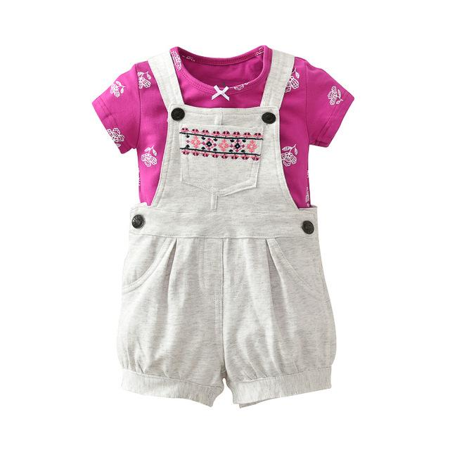 2Pcs/Set Baby Clothing New Fashion Clothing for babies Cute O-Neck Shortdresskily-dresskily