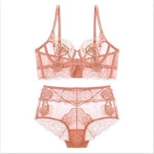 New Gather Adjusted Thin Cup Lingerie Bra Set Underwear Transparent Temptation Sexydresskily-dresskily