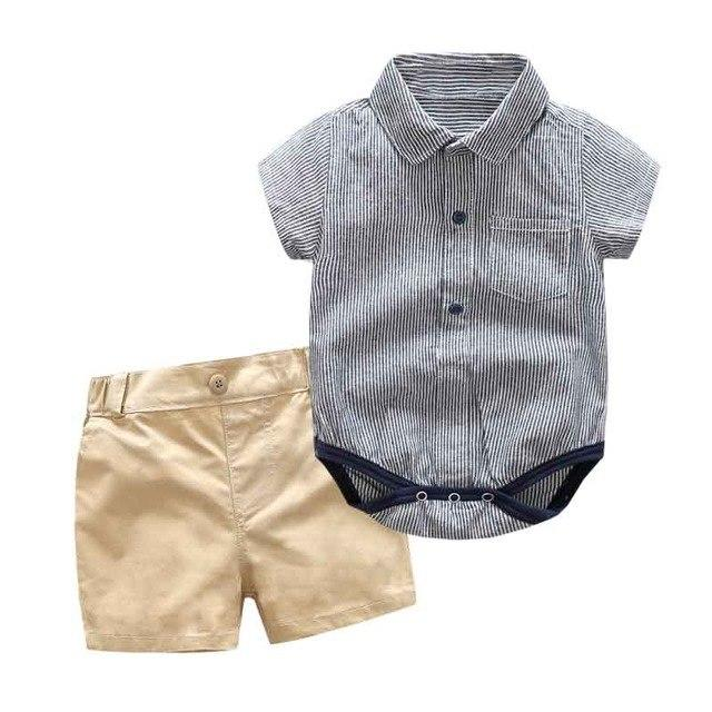 Summer Boy Clothing Set for Newborn Cotton Rompers + Strap Shorts 3-24Mdresskily-dresskily