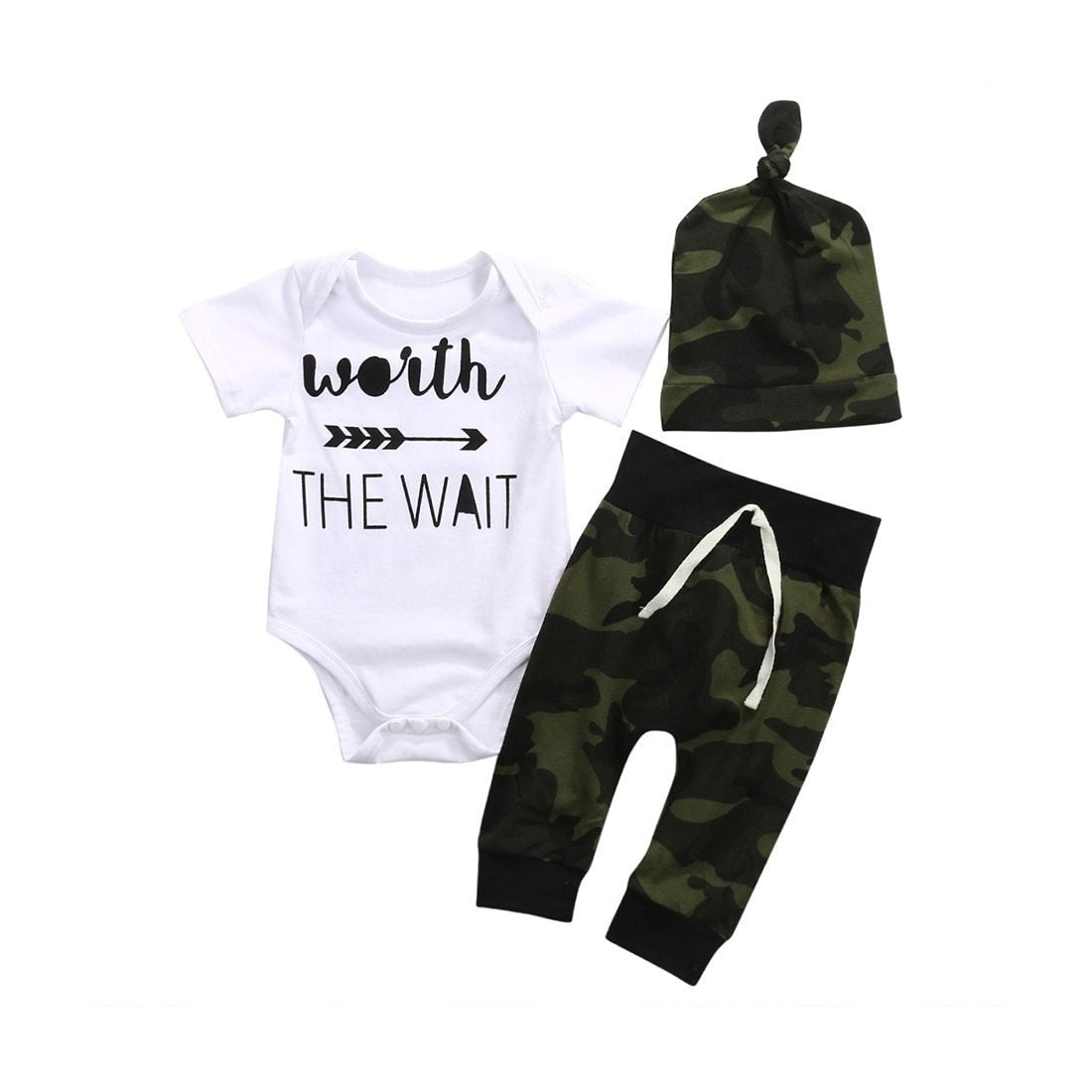 WORTH THE WAIT Cotton Romper Baby Boys Girls Clothes Outfit Short Sleevedresskily-dresskily
