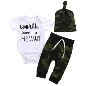 Worth The Wait 3Pcs Set Baby Girl Clothes Boy Clothes White Bodysuitdresskily-dresskily