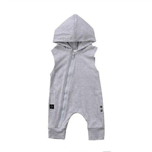 Newborn Baby Boys Girls Zipper Hooded Romper Harlan Jumpsuit Playsuit Clothes Outfitsdresskily-dresskily