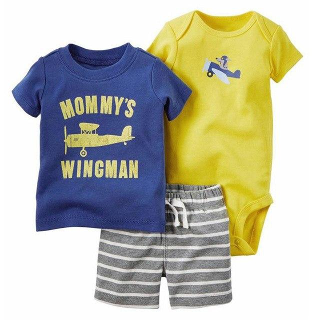 Summer style sweat suit short boys girls rompers suit 3pcs Babydresskily-dresskily