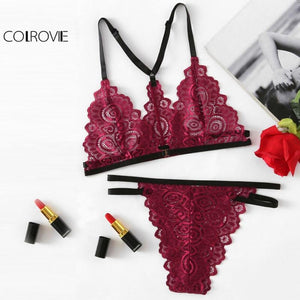 Burgundy Lace Embroidery Bra Set Women Scallop Edge Contrast Strappy Lingeriedresskily-dresskily