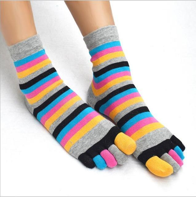 2018 New Fashion Women Funny Stripe Toe Socks Cotton Five Fingers Socksdresskily-dresskily