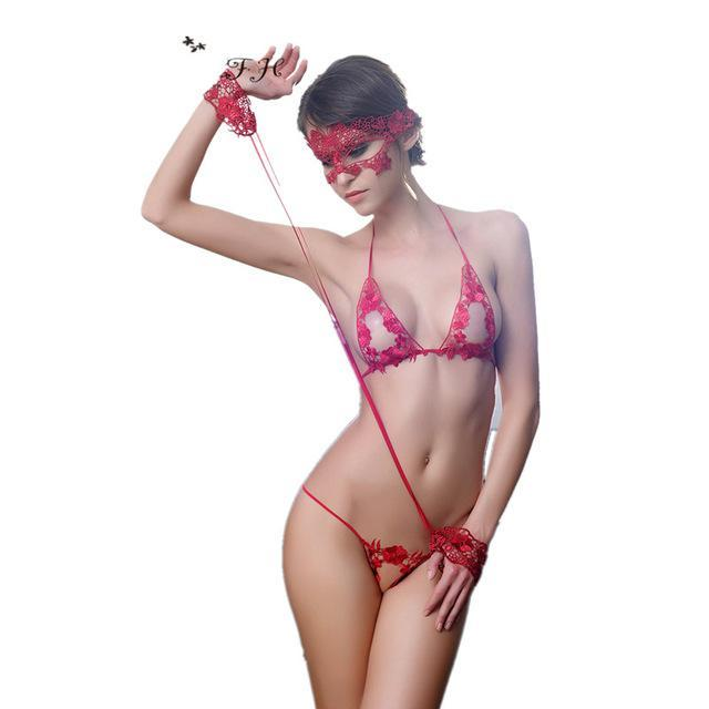 4pcs Set Women Bra Set Sexy Mask + Hand Circle + Bradresskily-dresskily