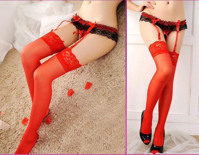 Sexy Garter Belt Stocking Set Sheer Lace Over Knee Nylons Thigh Hhighdresskily-dresskily