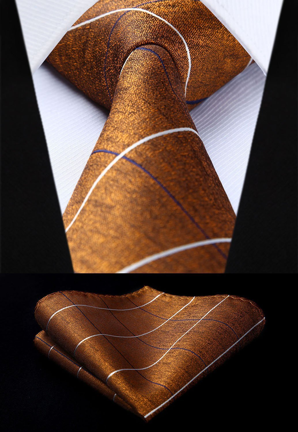 "TC910Z8S Brown White Check & Plaid 3.4"" Silk Tie set party weddingdresskily-dresskily"