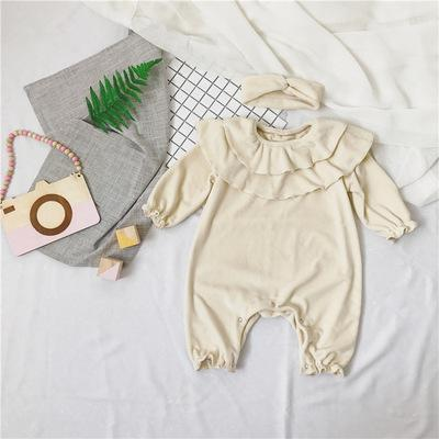 Baby Girl Rompers Lotus Leaf Collar Super Soft Cashmere Fabric Lantern Sleevedresskily-dresskily