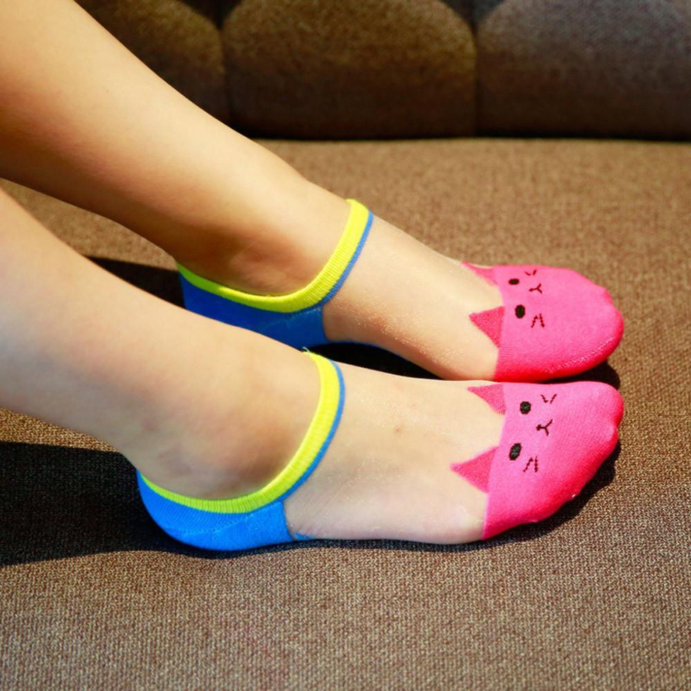 Summer 7 Candy Colors Cute print cat harajuku transparent socks women girldresskily-dresskily