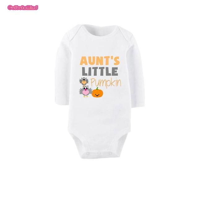 White Long Sleeve Cotton Newborn Gift Aunt Little Pumpkin Print Infantdresskily-dresskily