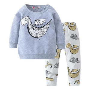 2018 New Fashion infant clothes baby boy clothes sets Long sleeve dinosaurdresskily-dresskily