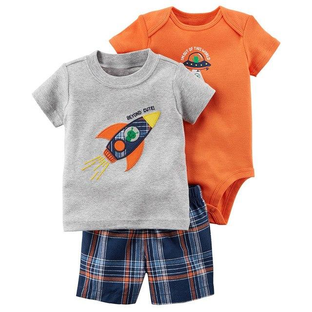 2018 Summer Baby Boys Girls Clothes Bebes Jumpsuit+Print Pants+Cartoon Top 3 Pcsdresskily-dresskily