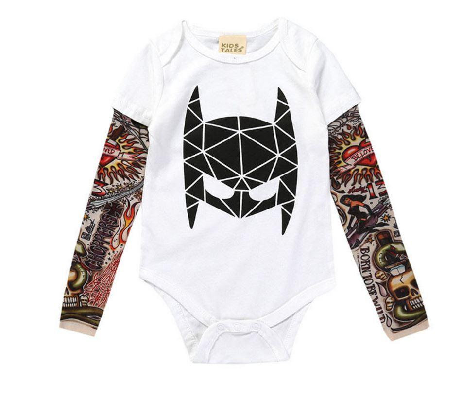 0-3yrs Baby Boys Girls Rompers New 2018 Unisex Tattoo Sleeve Toddler Jumpsuitsdresskily-dresskily