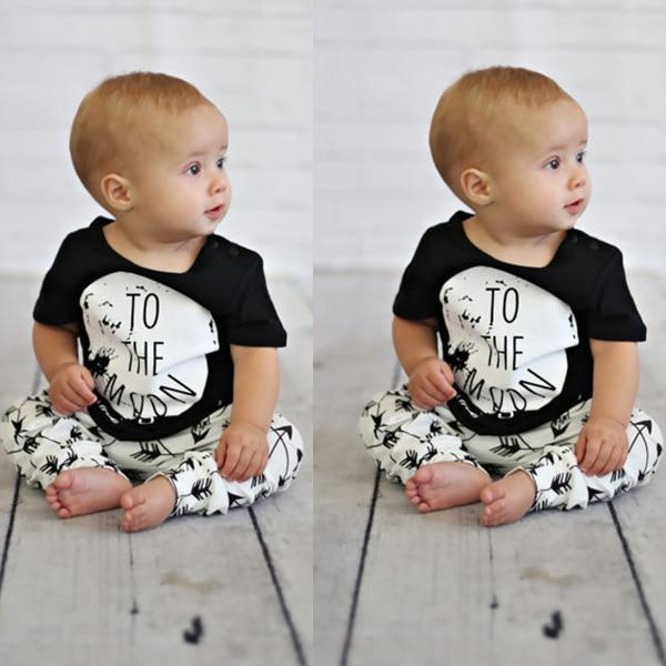 2018 New Summer baby boy clothes cotton short-sleeved fashion T shirt+pants 2pcsdresskily-dresskily
