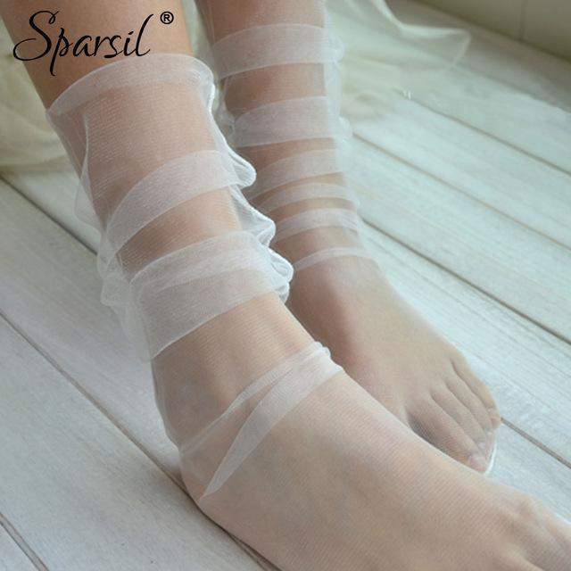 Women Fairy Style Pile Heap Socks Cute Solid Color Ultra-Thin Hollowdresskily-dresskily