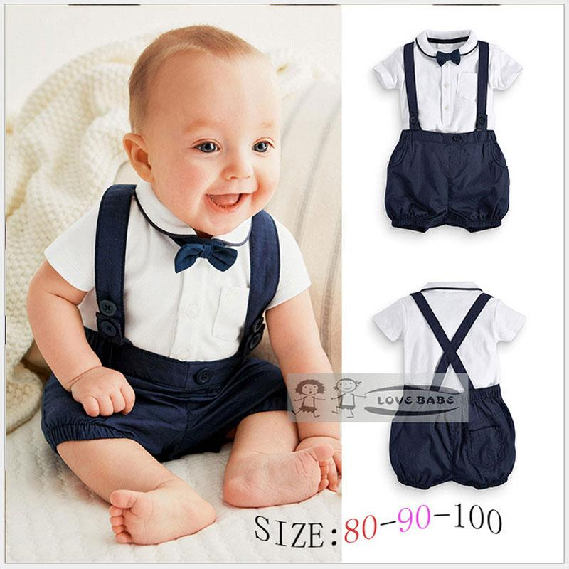 Summer Baby Clothing Cotton 2pcs Suit Short Infant Boy Gentleman Suspender Giftdresskily-dresskily