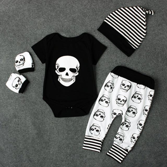 Newborn Infant Baby Boys Skull Head Black Short Sleeves Romper+Long Pants+Hat+Gloves 4Pcsdresskily-dresskily