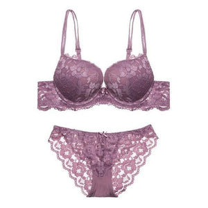 2018 Sexy Womens Lace Embroidery Push-up Bra Set Breathable Padded Bra +dresskily-dresskily