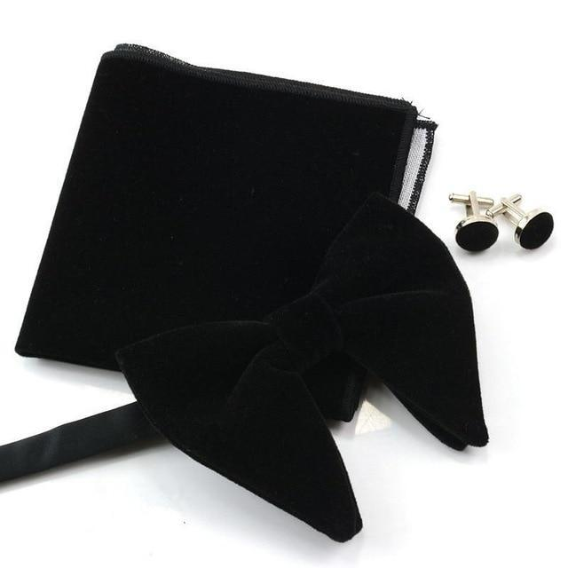 Fashion Men Velvet Solid Color Oversized Wedding Party Hankerchief Cufflinks Tuxedo Businessdresskily-dresskily