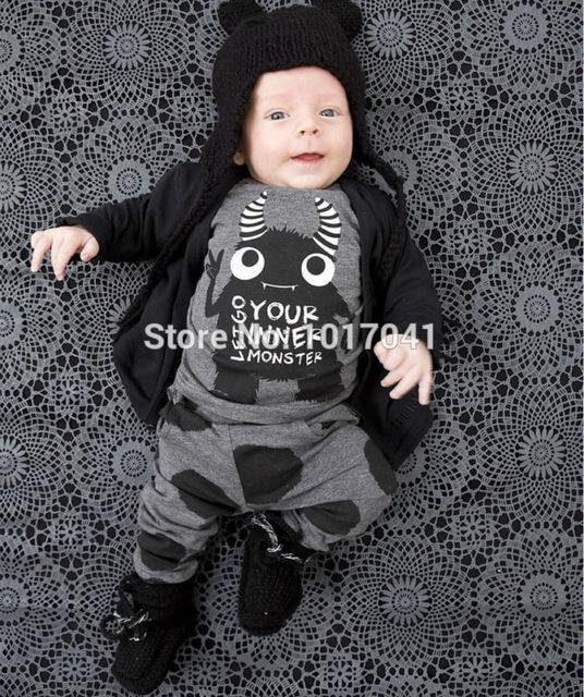 New 2018 baby boy clothes infant clothes cotton little monsters long sleevedresskily-dresskily
