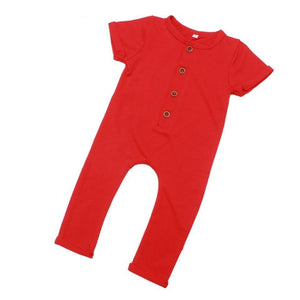 Baby Boys Girls Summer Romper Newborn Cotton Jumpsuit Infant Plain Colordresskily-dresskily