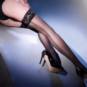 Women Lace Top Sexy Stockings,30D Ultrathin Sheer Nylon Over Knee Thigh Highdresskily-dresskily