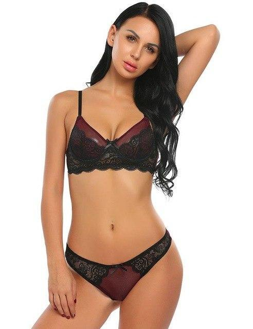 Sexy Lace Bra Set Women Fashion Spaghetti Strap Underwire Lace Patchworkdresskily-dresskily