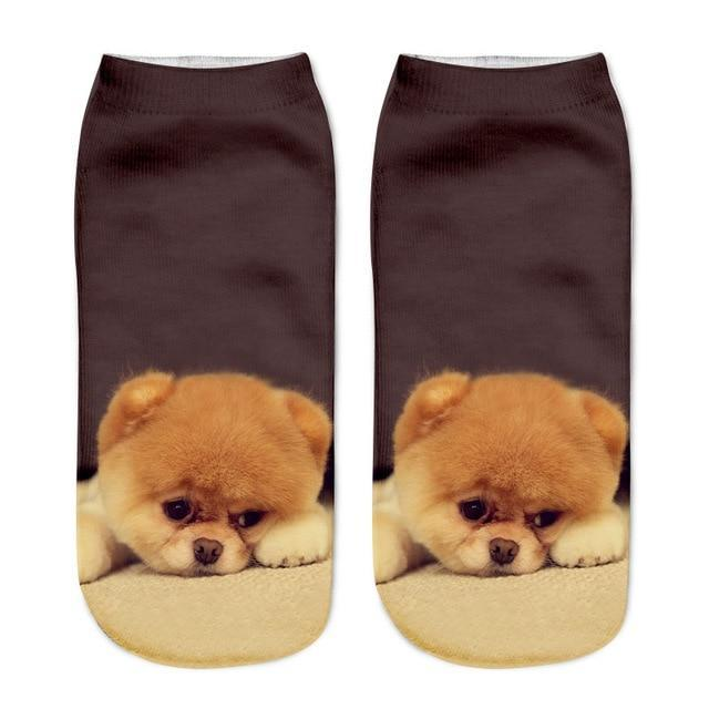 2018 New Hot Kawaii 3D Print Socks Women Harajuku Ankle Dogs Calcetinesdresskily-dresskily