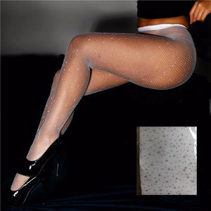 Women Tights With Crystals Bling Mesh Fishnet Pantyhose Rhinestone Stockings Women Stockingdresskily-dresskily