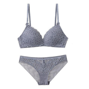 Sexy Lace Triangle cup Bra Sets For Women Wireless Thin Cottondresskily-dresskily