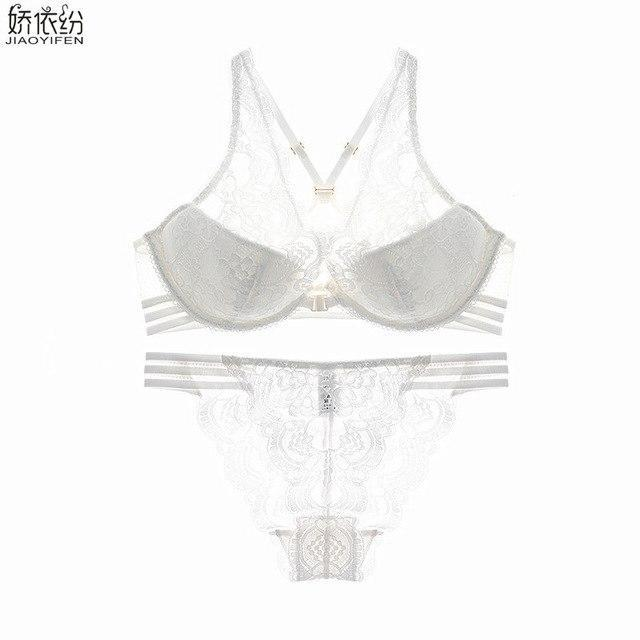 JYF Sexy cozy lace bra set embroidery flowers underwear sexy girl breathabledresskily-dresskily