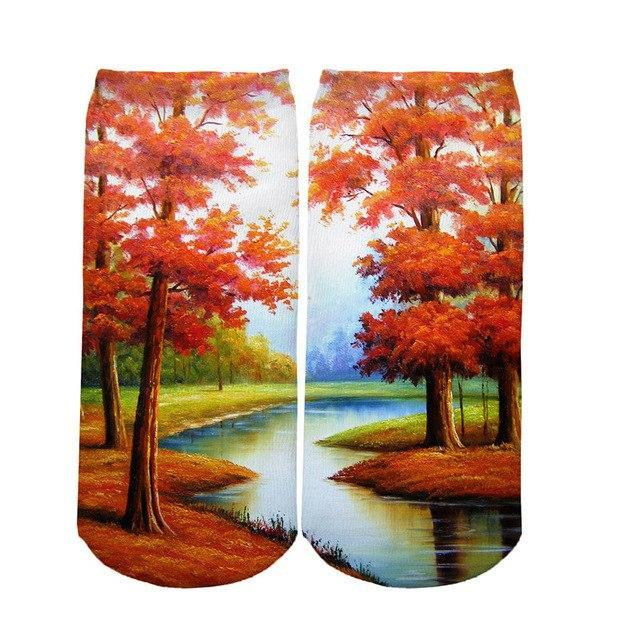 3D Printing Women Socks Casual Cotton Funny Flower Colorful Socks Noveltydresskily-dresskily