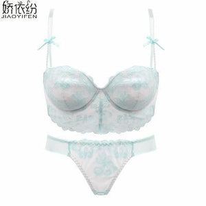 JYF Brand Sexy Lace Women Underwear Set Net Yarn Embroidery Flower 1/2dresskily-dresskily