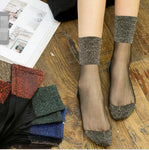 1 Pair Hot Sale 2018 Shiny Socks New Fashion Glitter silverdresskily-dresskily
