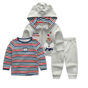 Latest Casual Cardigan Pants Set Baby Boy Clothes Outfit Gray Bodysuit Babydresskily-dresskily