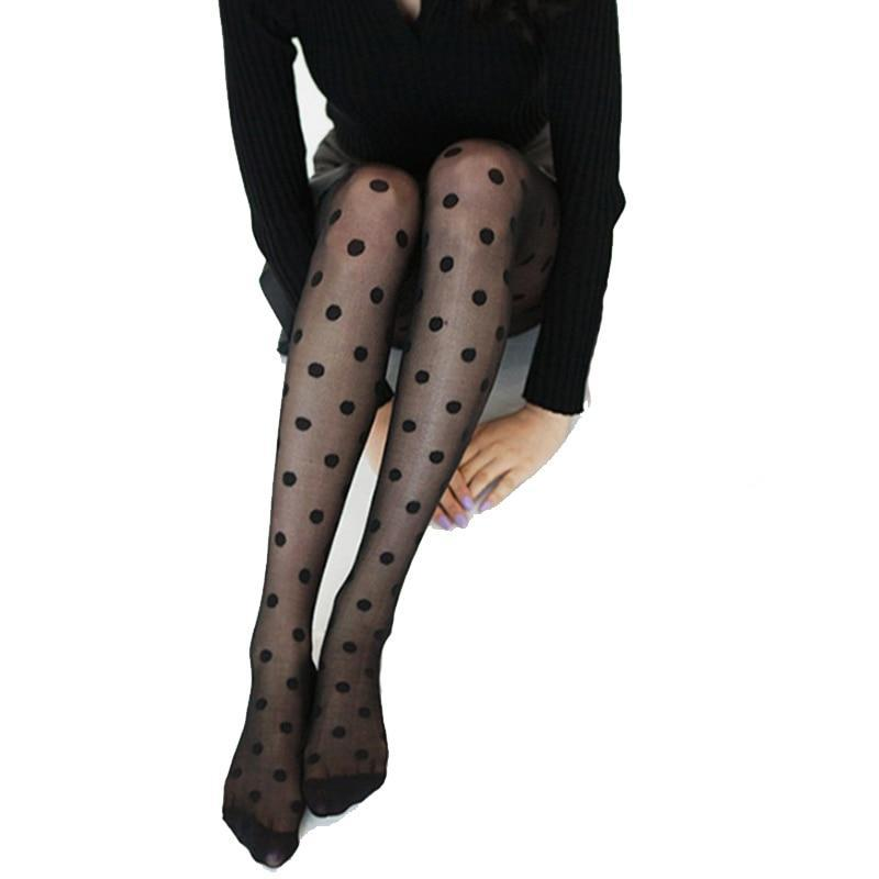 New Pantyhose Women Tights Black And White Big Dots Entirely Seamless Sexydresskily-dresskily