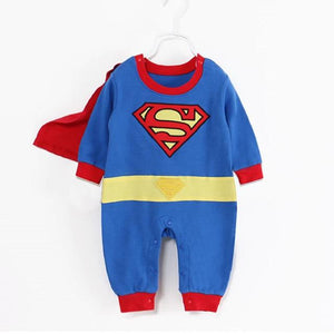 Cute Baby Cosplay Summer Newborn Costume Baby Rompers Superhero Superman Cotton Boydresskily-dresskily