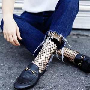 Popular Chic Thin Fishnet Sock Women Punk Cool Female Mesh Short Socksdresskily-dresskily